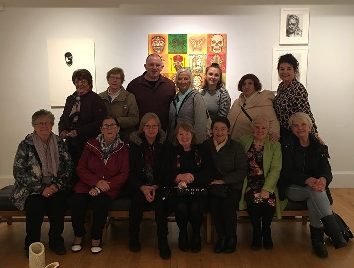 Mary with the group visiting the exhibition.
